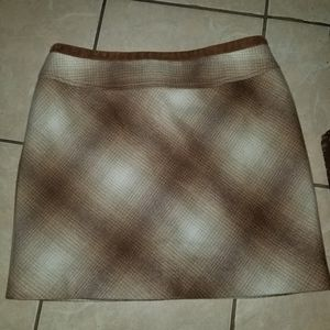 Kenneth Cole brown plaid wool skirt 8